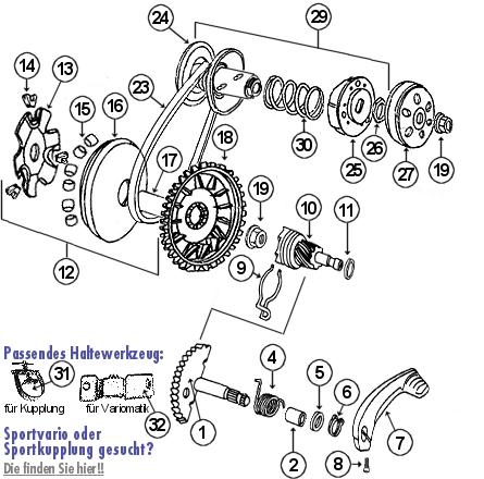 peugeot speedfight 1 50 lc (2-takt) kickstarter, kupplung und