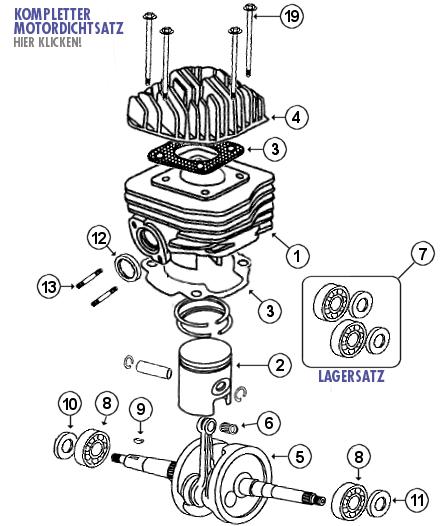 kurbelwelle und zylinder 4taktershop - baotian und rex roller