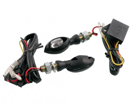 Blinker Paar Vanez Bulb LED schwarz / klar, Mini Blinker